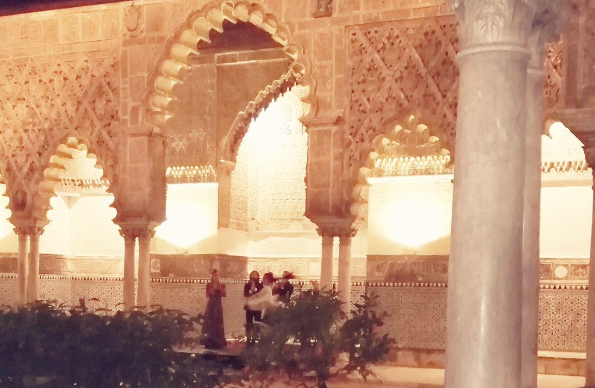 During the flamenco performance at the Real Alcazar in Seville.