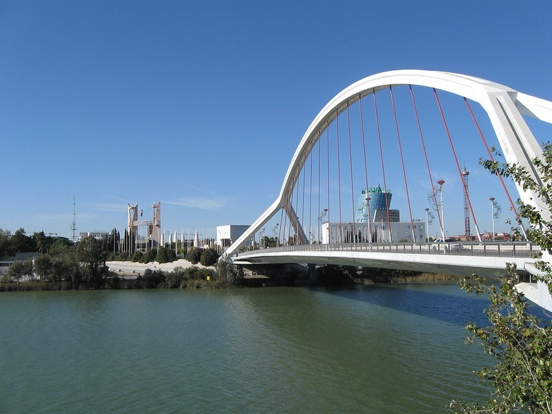 Barqueta Bridge in the Cartuja of Seville